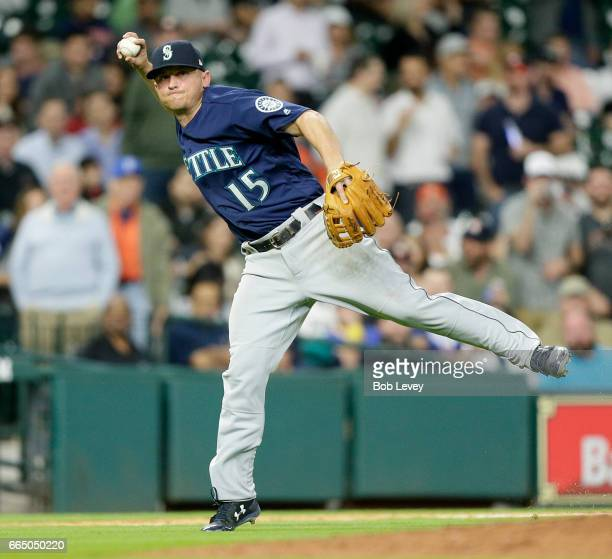 Kyle Seager of the Seattle Mariners throws to first base in the seventh inning at Minute Maid Park on April 5 2017 in Houston Texas