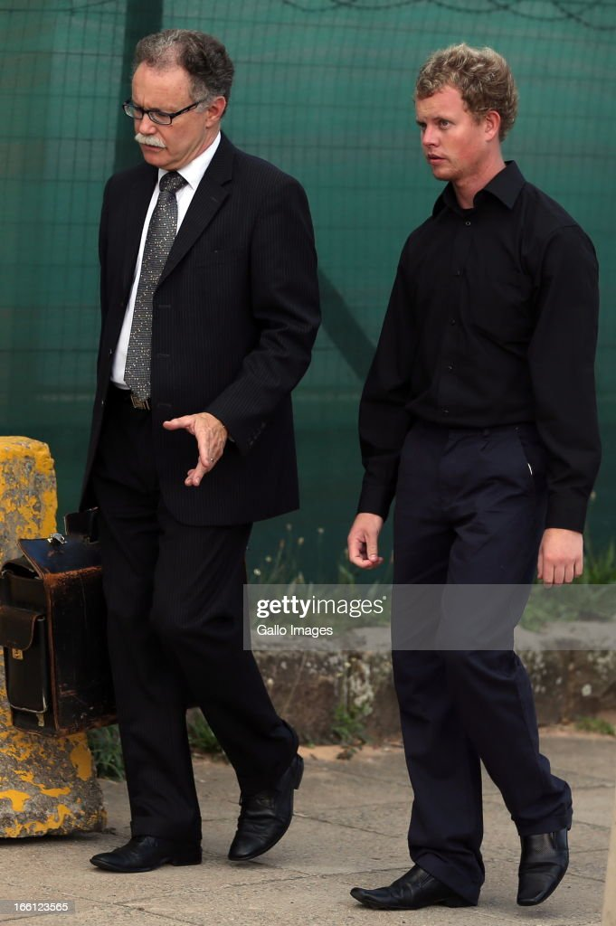 Kyle Shepard outside court after his bail application on April 8, 2013 in Durban, South Africa. Shepard is one of the accused charged with the murder of a British Royal Marine, Brett Williams. Williams was beaten to death at a Super XV Match at Durban Stadium.