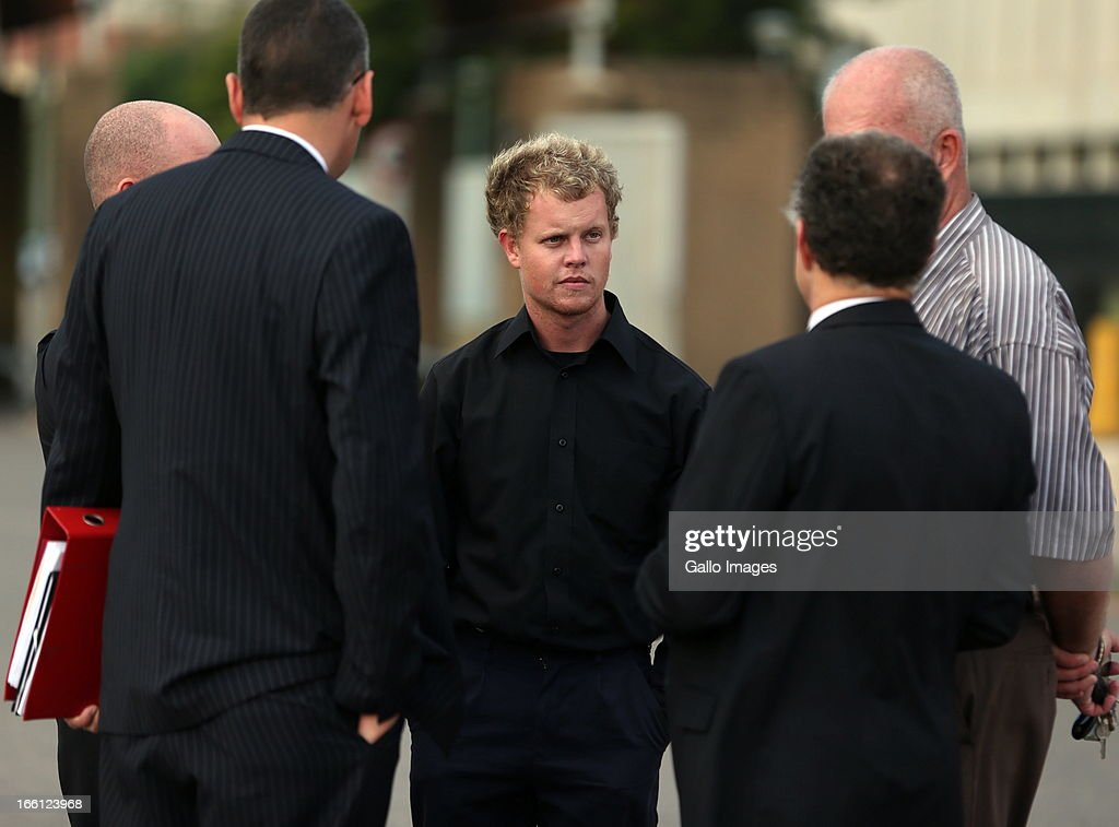 Kyle Shepard stands outside court after his bail application on April 8, 2013 in Durban, South Africa. Shepard is one of the accused charged with the murder of a British Royal Marine, Brett Williams. Williams was beaten to death at a Super XV Match at Durban Stadium.