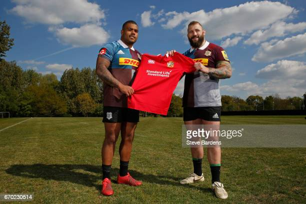 Kyle Sinckler and Joe Marler of Harlequins pose for a photograph after being announced in the 2017 British and Irish Lions tour to New Zealand squad...