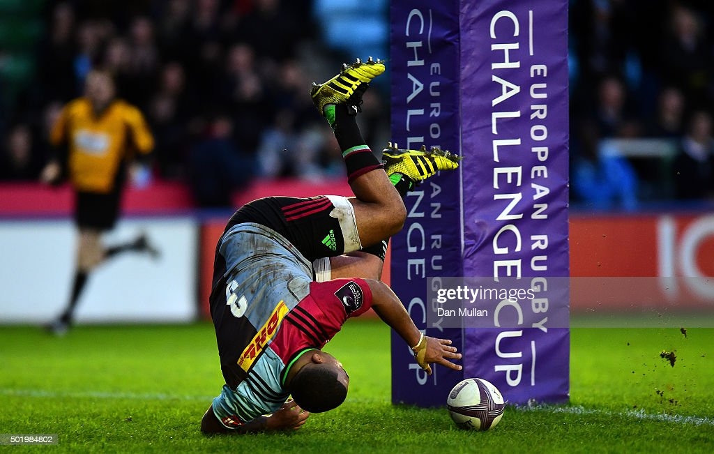 Kyle Sinckler of Harlequins dives over to score his side's second try during the European Rugby Challenge Cup Pool 3 match between Harlequins and...