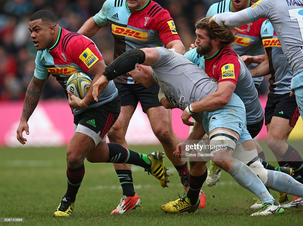 Kyle Sinckler of Harlequins takes on the Northampton Saints defence during the Aviva Premiership match between Harlequins and Northampton Saints at Twickenham Stoop on February 6, 2016 in London, England.
