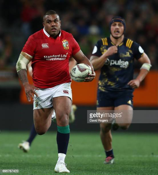 Kyle Sinckler of the Lions breaks with the ball during the 2017 British Irish Lions tour match between the Highlanders and the British Irish Lions at...
