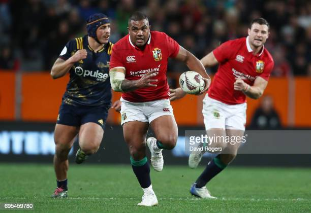 Kyle Sinckler of the Lions makes a break during the 2017 British Irish Lions tour match between the Highlanders and the British Irish Lions at the...