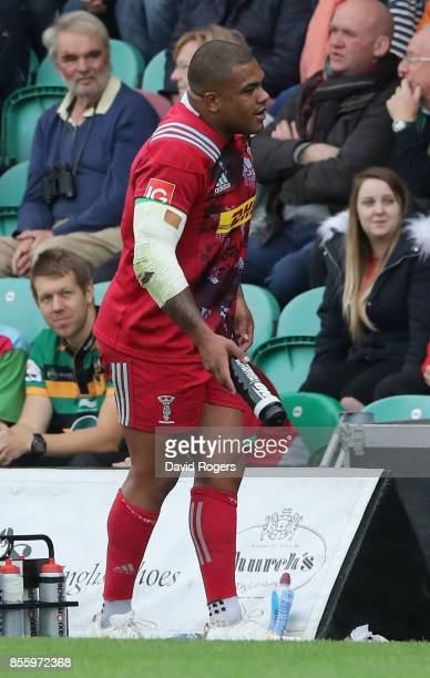 Kyle Sinckler the Harlequins prop walks off the pitch during the Aviva Premiership match between Northampton Saints and Harlequins at Franklin's...