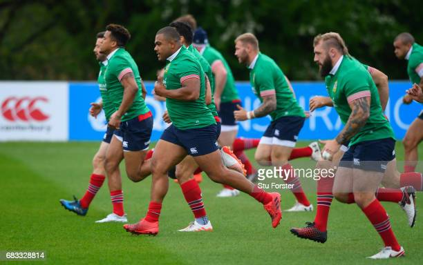 Kyle Sinckler warms up during a British and Irish Lions training session at Vale of Glamorgan on May 15 2017 in Cardiff Wales