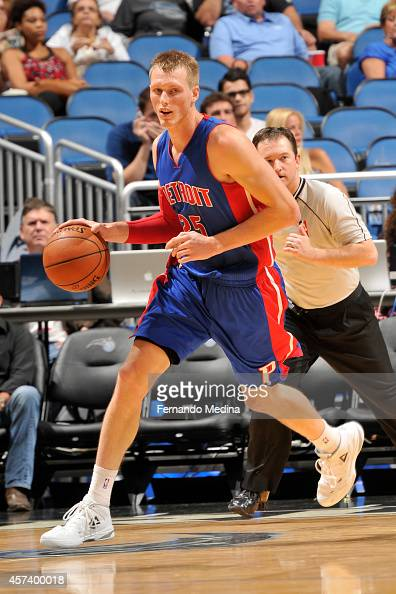 Kyle Singler of Detroit Pistons handles the ball against the Orlando Magic on October 17 2014 at Amway Center in Orlando Florida NOTE TO USER User...