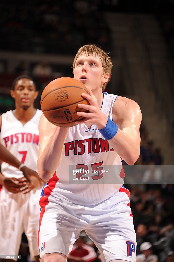 Kyle Singler #25 of the Detroit Pistons aims for a free throw during the game between the Detroit Pistons and the Philadelphia 76ers on April 15, 2013 at The Palace of Auburn Hills in Auburn Hills, Michigan.