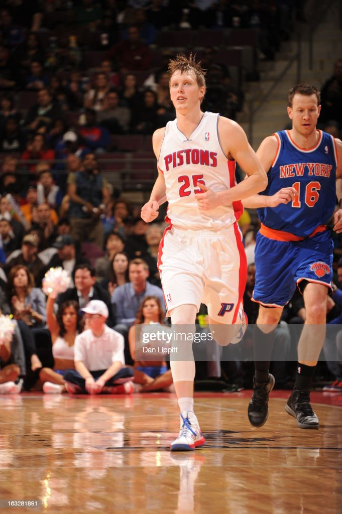 Kyle Singler #25 of the Detroit Pistons and Steve Novak #16 of the New York Knicks run up court during the game between the Detroit Pistons and the Atlanta Hawks on March 6, 2013 at The Palace of Auburn Hills in Auburn Hills, Michigan.