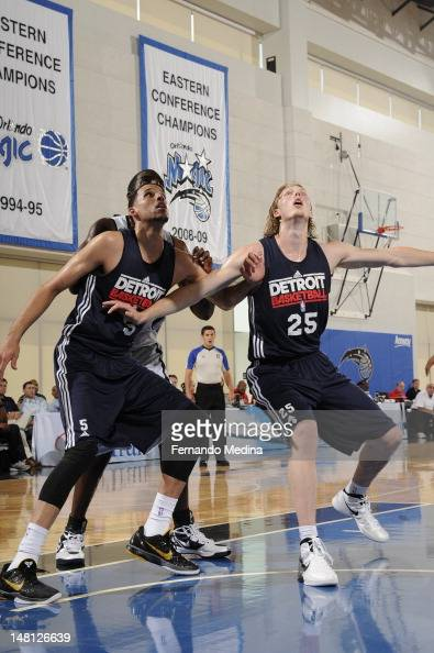 Kyle Singler of the Detroit Pistons battles for position against the Orlando Magic during the 2012 Air Tran Airways Orlando Pro Summer League on July...