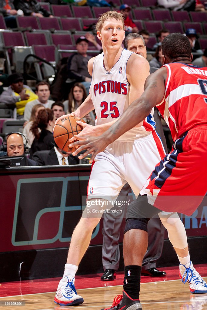 Kyle Singler #25 of the Detroit Pistons controls the ball against the Washington Wizards on February 13, 2013 at The Palace of Auburn Hills in Auburn Hills, Michigan.