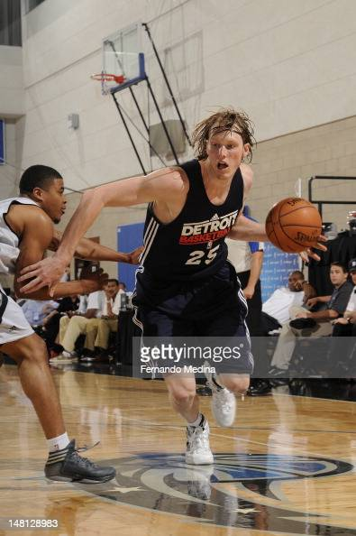 Kyle Singler of the Detroit Pistons dribbles against the Orlando Magic during the 2012 Air Tran Airways Orlando Pro Summer League on July 10 2012 at...