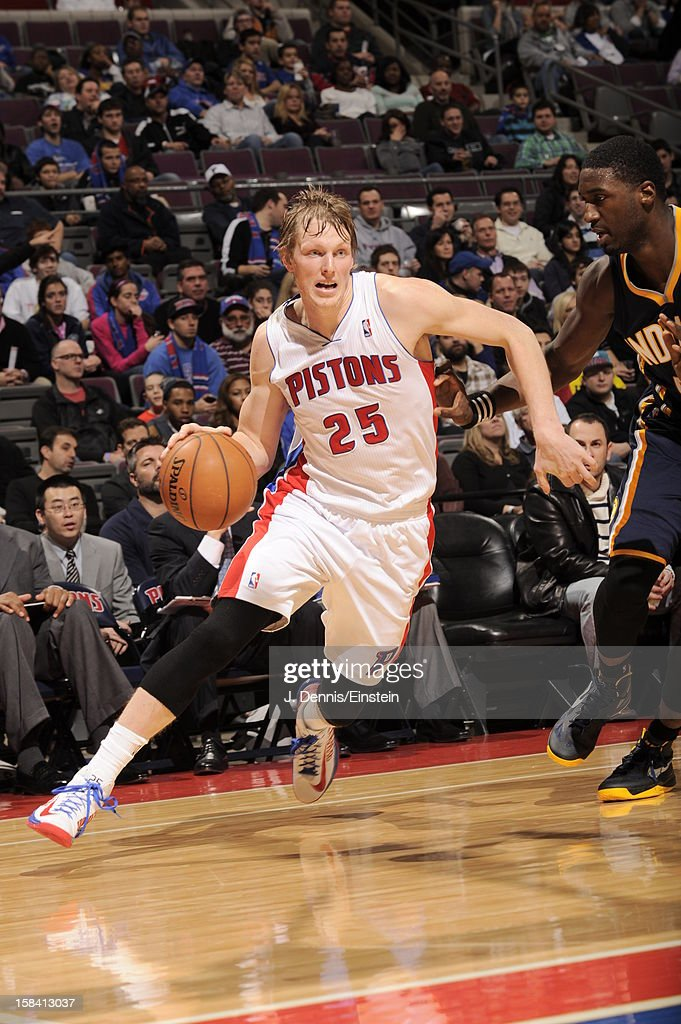<a gi-track='captionPersonalityLinkClicked' href=/galleries/search?phrase=Kyle+Singler&family=editorial&specificpeople=4216029 ng-click='$event.stopPropagation()'>Kyle Singler</a> #25 of the Detroit Pistons drives to the basket against the Indiana Pacers during the game on December 15, 2012 at The Palace of Auburn Hills in Auburn Hills, Michigan.