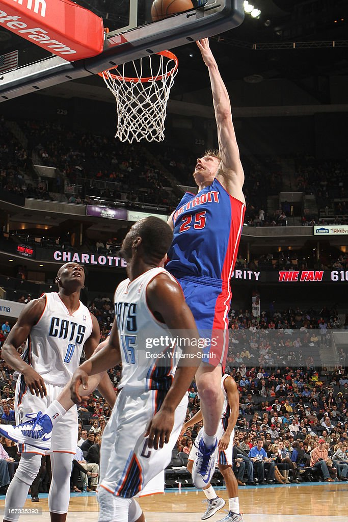 <a gi-track='captionPersonalityLinkClicked' href=/galleries/search?phrase=Kyle+Singler&family=editorial&specificpeople=4216029 ng-click='$event.stopPropagation()'>Kyle Singler</a> #25 of the Detroit Pistons drives to the basket against the Charlotte Bobcats at the Time Warner Cable Arena on March 23, 2013 in Charlotte, North Carolina.