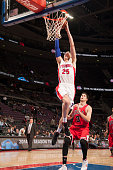 Kyle Singler of the Detroit Pistons drives to the basket against the Chicago Bulls on October 7 2014 at The Palace of Auburn Hills in Auburn Hills...