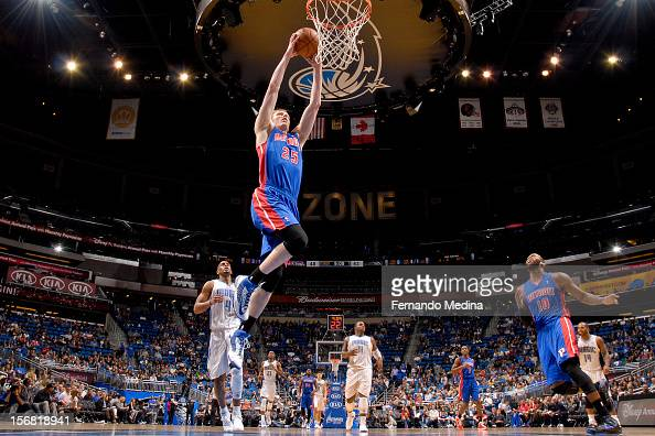 Kyle Singler of the Detroit Pistons dunks against the Orlando Magic on November 21 2012 at Amway Center in Orlando Florida NOTE TO USER User...