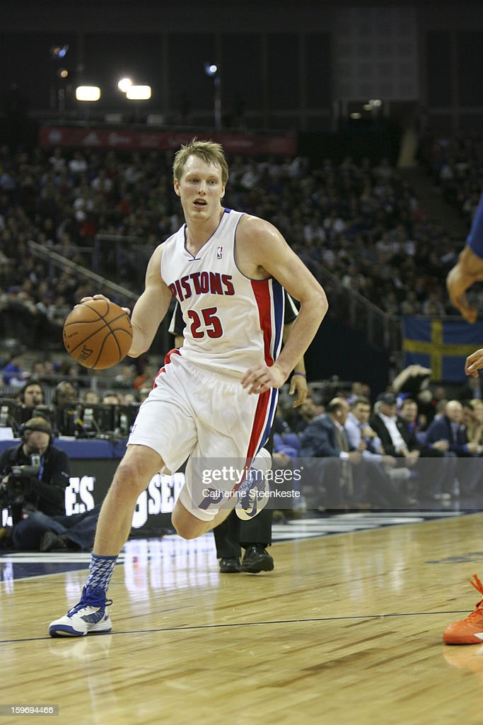 Kyle Singler #25 of the Detroit Pistons during a game between the New York Knicks and the Detroit Pistons at the O2 Arena on January 17, 2013 in London, England.