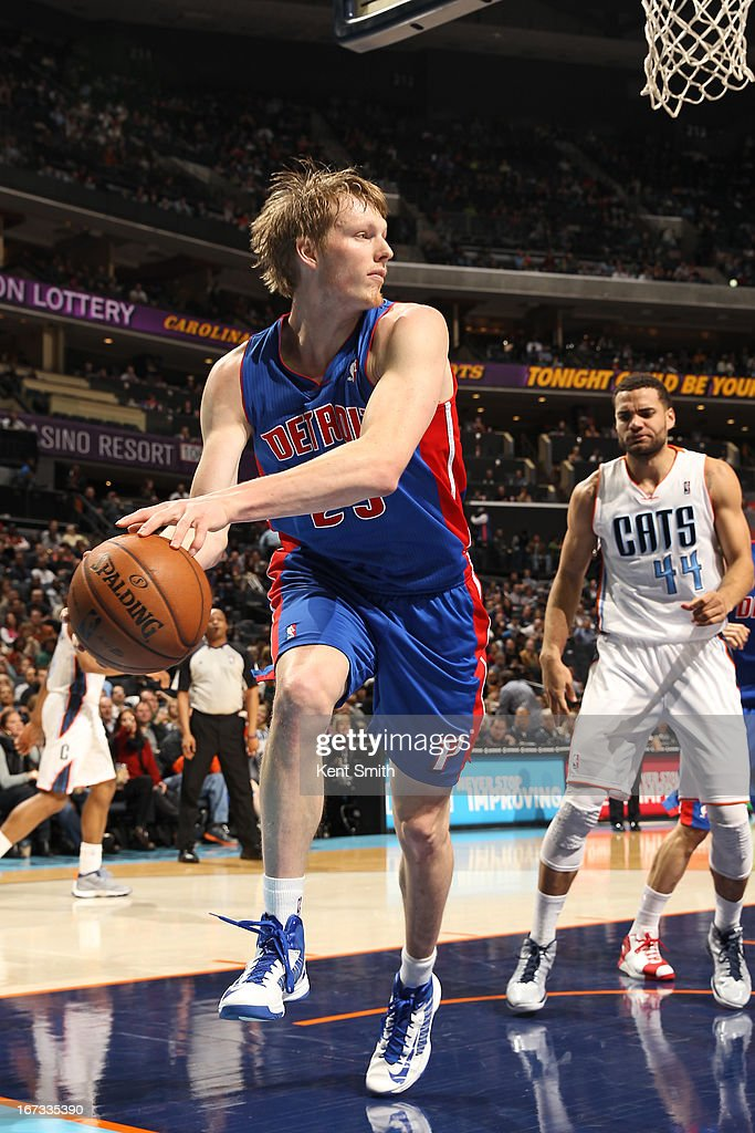<a gi-track='captionPersonalityLinkClicked' href=/galleries/search?phrase=Kyle+Singler&family=editorial&specificpeople=4216029 ng-click='$event.stopPropagation()'>Kyle Singler</a> #25 of the Detroit Pistons goes for a rebound against the Charlotte Bobcats at the Time Warner Cable Arena on March 23, 2013 in Charlotte, North Carolina.
