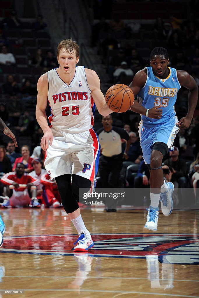 Kyle Singler #25 of the Detroit Pistons handles the ball against the Denver Nuggets on December 11, 2012 at The Palace of Auburn Hills in Auburn Hills, Michigan.