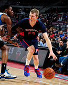 Kyle Singler of the Detroit Pistons handles the ball against the Minnesota Timberwolves on February 8 2015 at The Palace of Auburn Hills in Auburn...