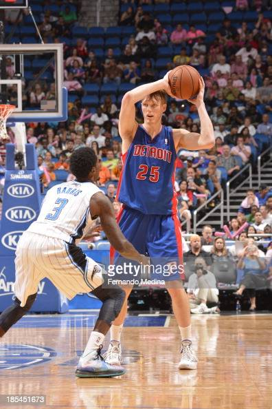 Kyle Singler of the Detroit Pistons looks to pass the ball against the Orlando Magic during the game on October 20 2013 at Amway Center in Orlando...
