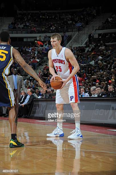 Kyle Singler of the Detroit Pistons looks to pass the ball against the Utah Jazz during the game on January 17 2014 at The Palace of Auburn Hills in...