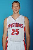 Kyle Singler of the Detroit Pistons poses during Detroit Pistons Media Day on September 29 2014 in Auburn Hills Michigan NOTE TO USER User expressly...