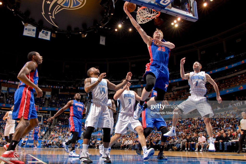 Kyle Singler #25 of the Detroit Pistons shoots a layup against the Orlando Magic on November 21, 2012 at Amway Center in Orlando, Florida.
