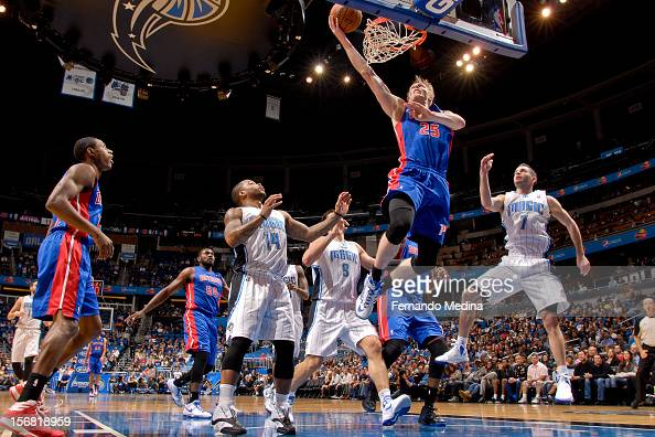 Kyle Singler of the Detroit Pistons shoots a layup against the Orlando Magic on November 21 2012 at Amway Center in Orlando Florida NOTE TO USER User...