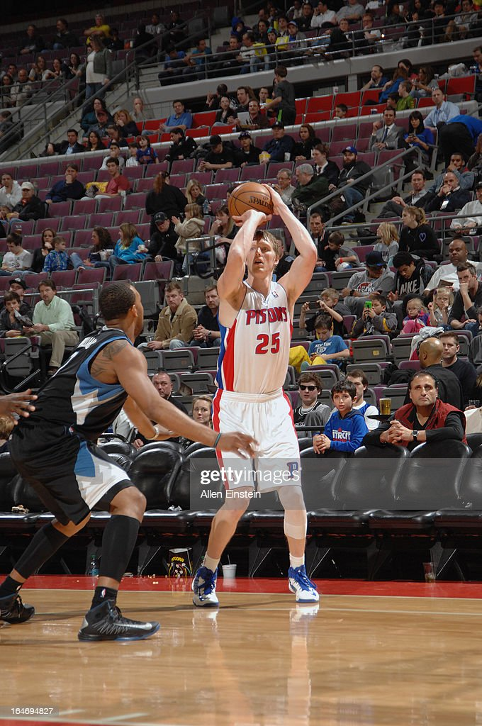 <a gi-track='captionPersonalityLinkClicked' href=/galleries/search?phrase=Kyle+Singler&family=editorial&specificpeople=4216029 ng-click='$event.stopPropagation()'>Kyle Singler</a> #25 of the Detroit Pistons shoots a three pointer against the Minnesota Timberwolves during the game on March 26, 2013 at The Palace of Auburn Hills in Auburn Hills, Michigan.