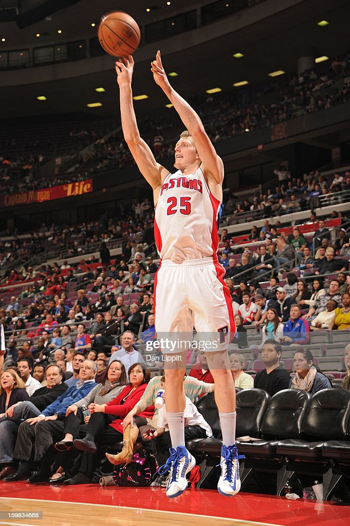 <a gi-track='captionPersonalityLinkClicked' href=/galleries/search?phrase=Kyle+Singler&family=editorial&specificpeople=4216029 ng-click='$event.stopPropagation()'>Kyle Singler</a> #25 of the Detroit Pistons shoots against the Boston Celtics on January 20, 2013 at The Palace of Auburn Hills in Auburn Hills, Michigan.