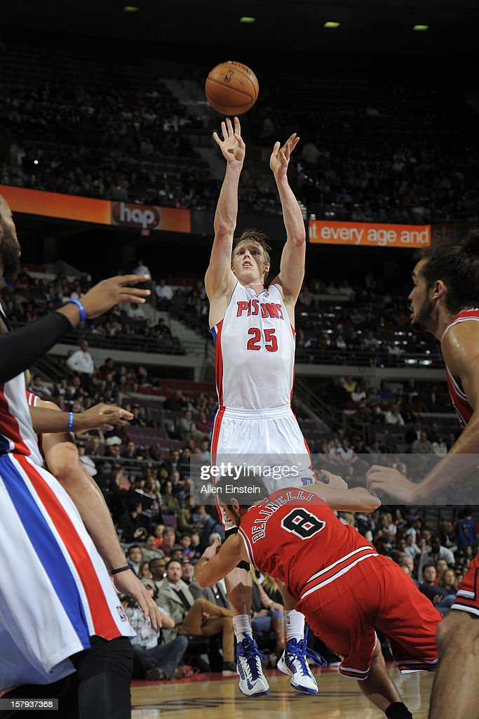 Kyle Singler #25 of the Detroit Pistons shoots against the Chicago Bulls on December 7, 2012 at The Palace of Auburn Hills in Auburn Hills, Michigan.