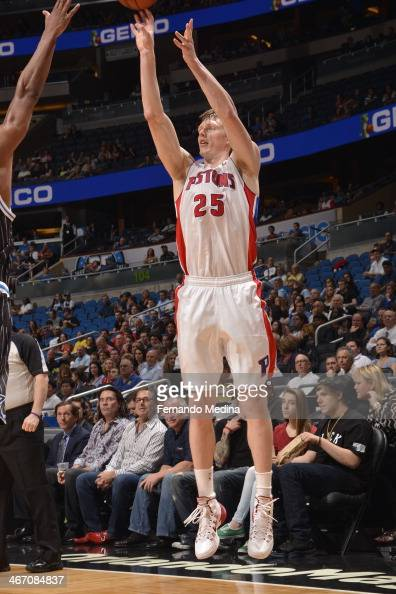 Kyle Singler of the Detroit Pistons shoots the ball against the Orlando Magic during the game on February 5 2014 at Amway Center in Orlando Florida...