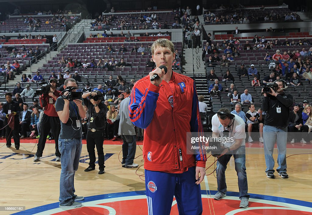 <a gi-track='captionPersonalityLinkClicked' href=/galleries/search?phrase=Kyle+Singler&family=editorial&specificpeople=4216029 ng-click='$event.stopPropagation()'>Kyle Singler</a> #25 of the Detroit Pistons speaks during the game between the Detroit Pistons and the Philadelphia 76ers on April 15, 2013 at The Palace of Auburn Hills in Auburn Hills, Michigan.