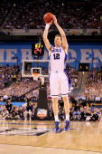 Kyle Singler of the Duke Blue Devils attempts a shot against the Butler Bulldogs during the 2010 NCAA Division I Men's Basketball National...