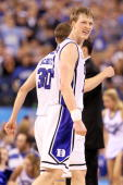 Kyle Singler of the Duke Blue Devils reacts in the second half while taking on the Butler Bulldogs during the 2010 NCAA Division I Men's Basketball...