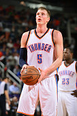 Kyle Singler of the Oklahoma City Thunder attempts a free throw against the Phoenix Suns on February 26 2015 at US Airways Center in Phoenix Arizona...
