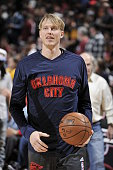 Kyle Singler of the Oklahoma City Thunder before the game against the Cleveland Cavaliers on December 17 2015 at The Quicken Loans Arena in Cleveland...