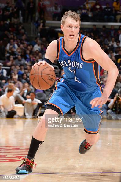Kyle Singler of the Oklahoma City Thunder drives against the Los Angeles Lakers on March 1 2015 at Staples Center in Los Angeles California NOTE TO...