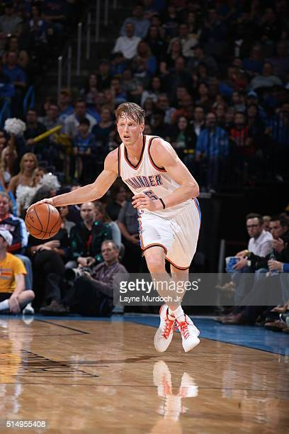 Kyle Singler of the Oklahoma City Thunder handles the ball against the Minnesota Timberwolves on March 10 2016 at the Chesapeake Energy Arena in...