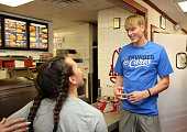 Kyle Singler of the Oklahoma City Thunder participates during a 'Random Act of Kindness' community service event on March 25 2016 at Braum's in...