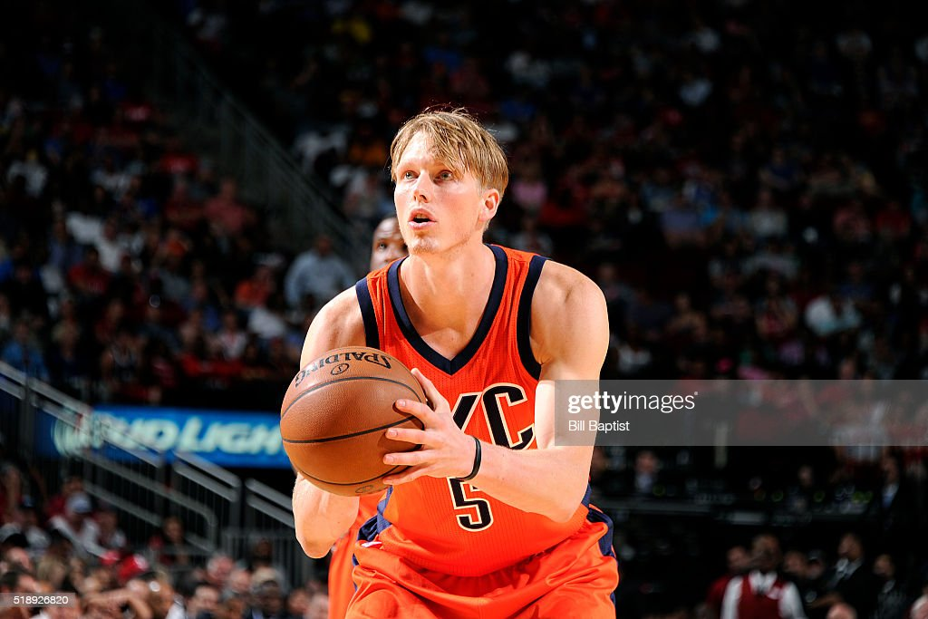 Kyle Singler of the Oklahoma City Thunder shoots a free throw during the game against the Houston Rockets on April 3 2016 at the Toyota Center in...