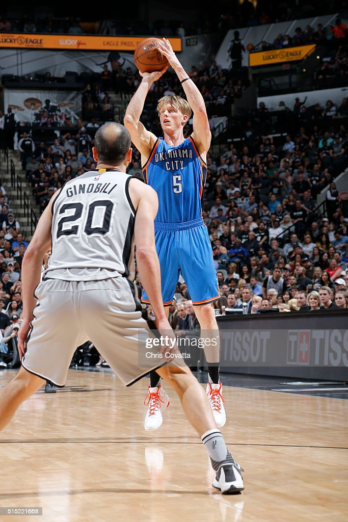 Kyle Singler of the Oklahoma City Thunder shoots against the San Antonio Spurs during the game on March 12 2016 at ATT in San Antonio Texas NOTE TO...