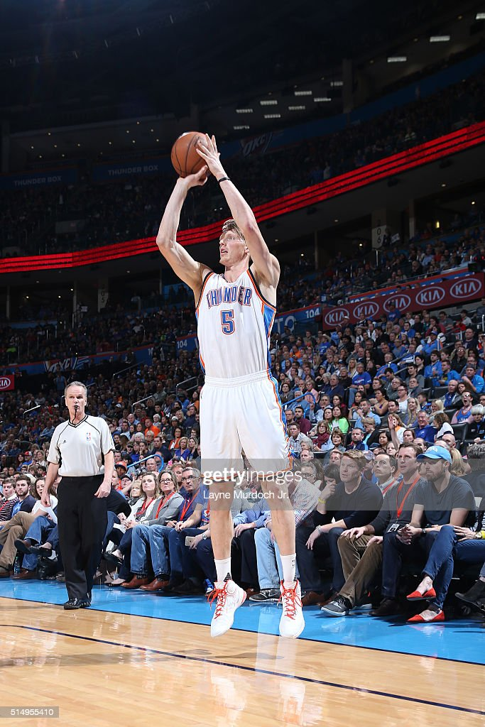 Kyle Singler of the Oklahoma City Thunder shoots the ball against the Minnesota Timberwolves on March 10 2016 at the Chesapeake Energy Arena in...