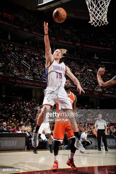 Kyle Singler of the Oklahoma City Thunder shoots the ball against the Cleveland Cavaliers during the game on January 29 2017 at Quicken Loans Arena...