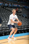 Kyle Singler of the Oklahoma City Thunder warms up before the game against the Los Angeles Clippers on March 31 2016 at Chesapeake Energy Arena in...