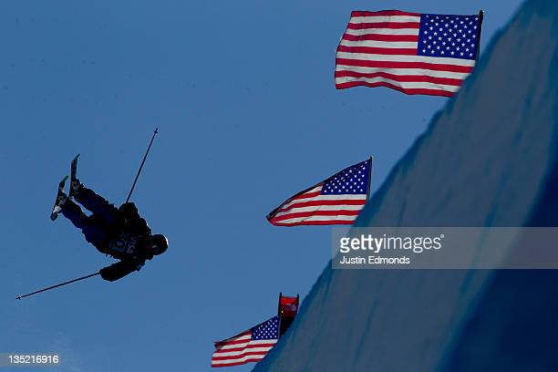 Kyle Smaine of the USA goes inverted during the FIS Freeskiing World Cup Men's Qualifier on the Main Vein Half Pipe on December 7 2011 in Copper...