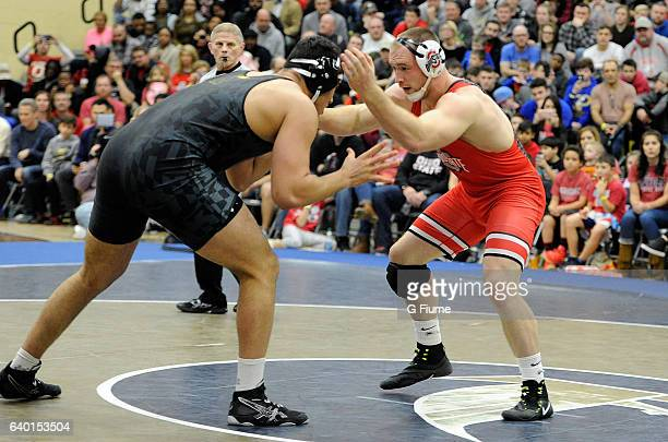Kyle Snyder of the Ohio State Buckeyes wrestles against Youssif Hemida of the Maryland Terrapins at Our Lady of Good Counsel High School on January...