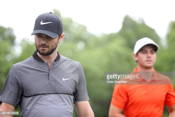 Kyle Stanley and Ryan Ruffels walk off from the sixth hole during the third round of the Zurich Classic at TPC Louisiana on April 29 2017 in Avondale...
