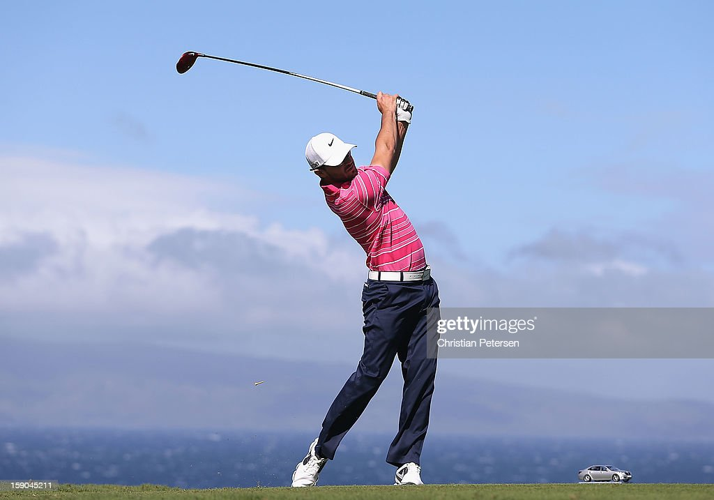 Kyle Stanley hits a tee shot on the 10th hole during the replay of the first round of the Hyundai Tournament of Champions at the Plantation Course on January 6, 2013 in Kapalua, Hawaii.
